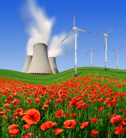 global cooling: Nuclear power plant with wind turbines