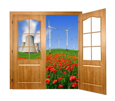 Open the door to the spring landscape with nuclear power plant  and wind turbines  photo