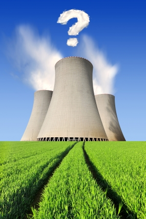Nuclear power plant with question mark from clouds Stock Photo - 16485836
