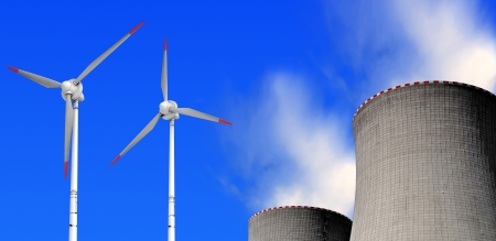 nuclear power plant and wind turbines  photo