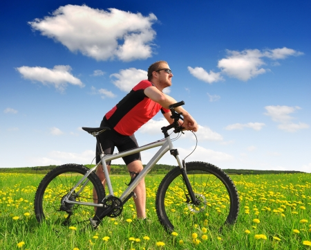 rapidity: cyclist in the meadow