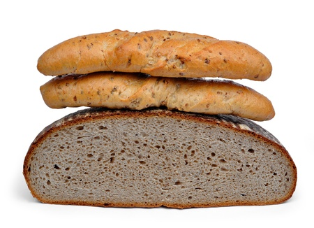 Wheat bread with whole-grain bread roll Isolated on white background Stock Photo - 16471237