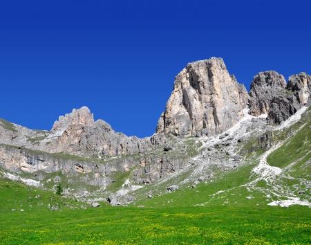 Dolomite peaks, Rosengarten,Val di Fassa, Italy Alps  Stock Photo - 16471245