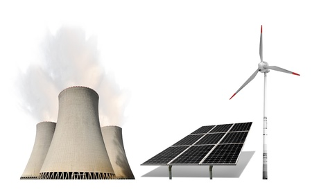 nuclear power plant with solar panel and wind turbine photo