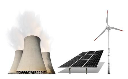 radiacion solar: planta de energía nuclear con paneles solares y turbinas de viento