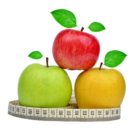 apple collection with measuring tape isolated Stock Photo - 16432192