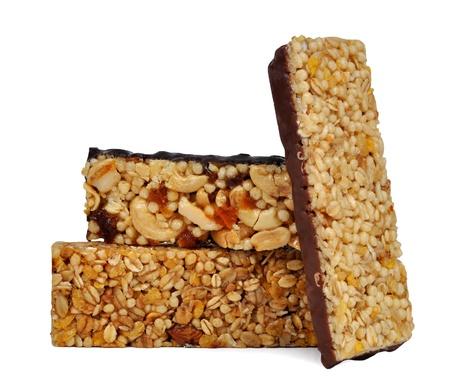 roughage: Chocolate Muesli Bars isolated on white background