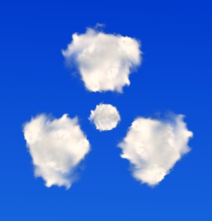 irradiate: radiation symbol from clouds Stock Photo