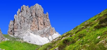vajolet: Dolomite peaks, Rosengarten,Val di Fassa, Italy Alps Stock Photo