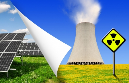 Solar panels and nuclear power plant  Stock Photo - 16728244