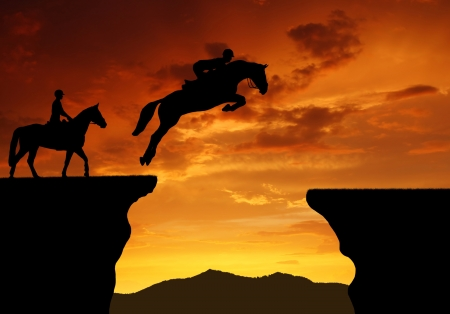 silhouette of a rider on a jumping horse Stock Photo - 16962040
