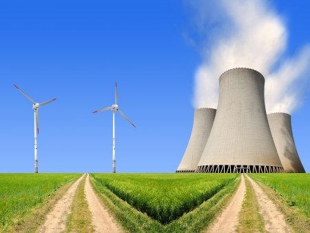 global cooling: field way with nuclear power plant and wind turbines