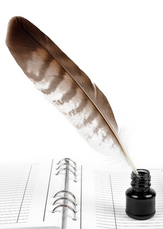 a literary sketch: Feathers and ink bottle  Stock Photo