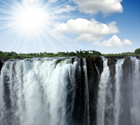 zambezi: The Victoria Falls at the border of Zimbabwe and Zambia