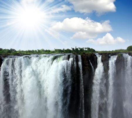 zimbabwe: The Victoria Falls en la frontera de Zambia y Zimbabwe