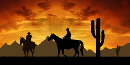 field sunset: Silhouette cowboys with horses in the sunset