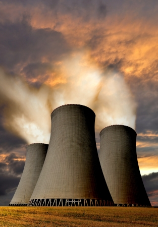 nuclear power plant: Sunset over the nuclear power plant