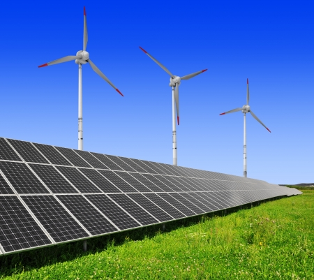solar energy panels and wind turbine Stock Photo - 17285454