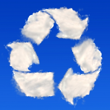 Recycling symbol from clouds photo