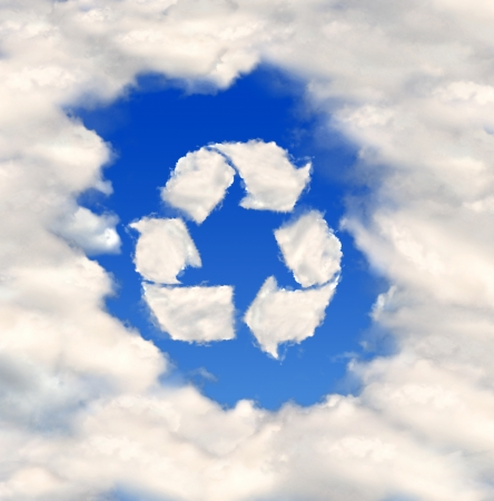 Recycle sign  from clouds  photo