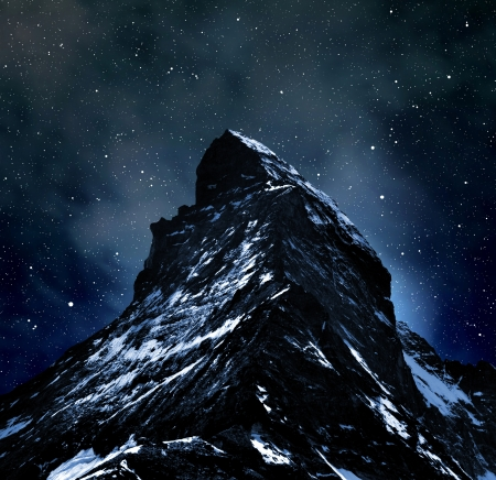 traditional climbing: Matterhorn on night sky