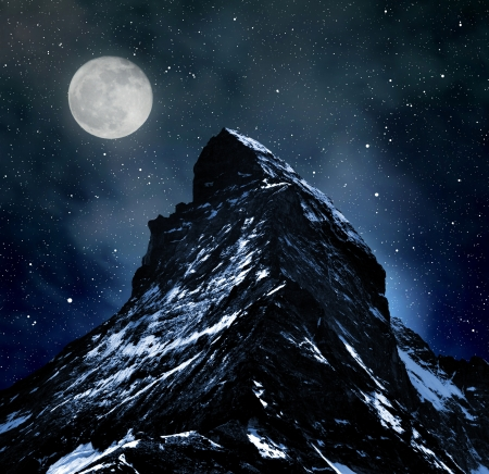 Matterhorn on night sky  photo