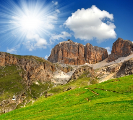 clearness: Dolomite peaks,Sella,Val di Fassa, Italy Alps