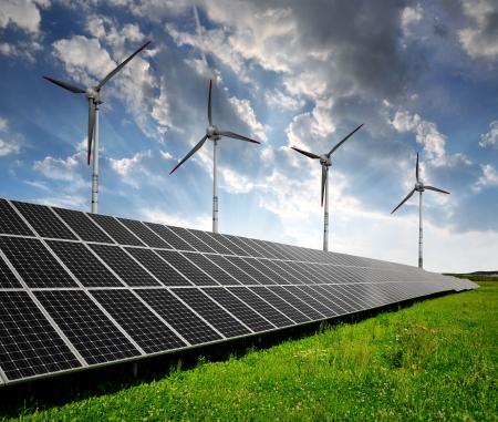 wind turbine: solar energy panels and wind turbine