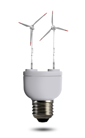 energy costs: wind turbine in bulb Stock Photo