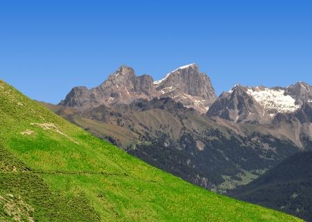 fassa: Marmolada peak,Val di Fassa - Italy Alps  Stock Photo