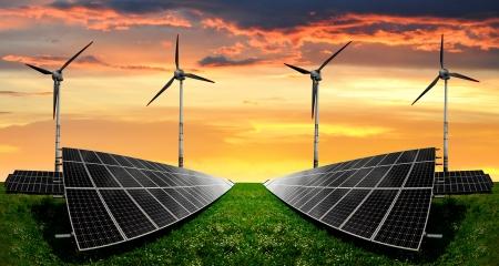solar energy panels and wind turbine Stock Photo - 18214400