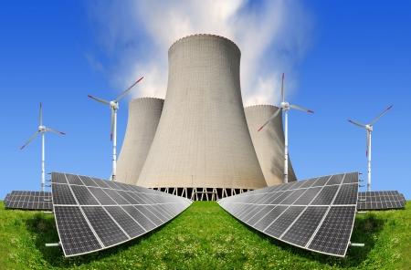 nuclear energy: Solar energy panels with wind turbines and nuclear power plant