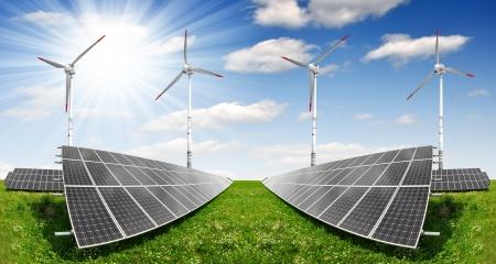 silicium: solar energy panels and wind turbine