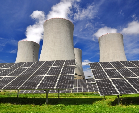 Solar energy panels before a nuclear power plant Stock Photo - 18214412