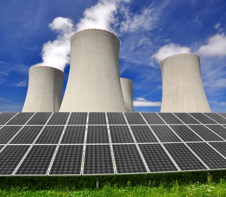 Solar energy panels before a nuclear power plant Stock Photo - 18213047