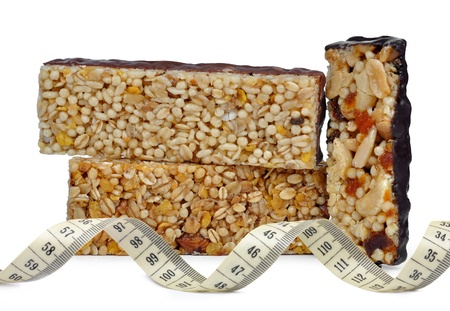 Chocolate Muesli Bars with measuring tape photo