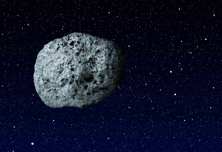 planetoid: large asteroid flying in the universe