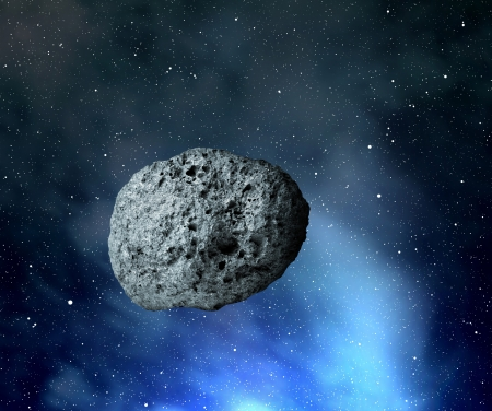 crater:  large asteroid flying in the universe Stock Photo