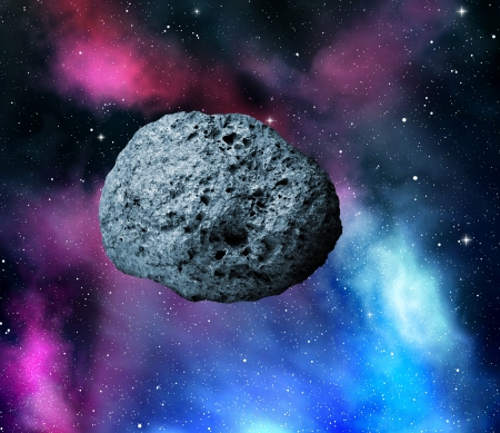 planetoid:  large asteroid flying in the universe Stock Photo