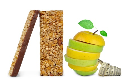 Chocolate Muesli Bars with apple mix isolated on white background photo