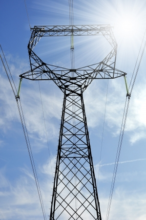 megawatts: Power transmission tower with cables