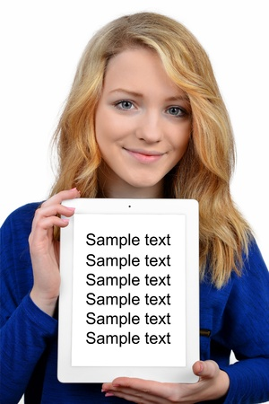 girls with tablet isolated on white background photo