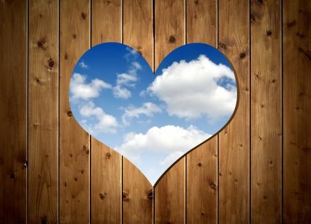 Wooden door with heart  photo