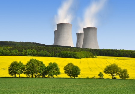 spring landscape with Nuclear power plant photo