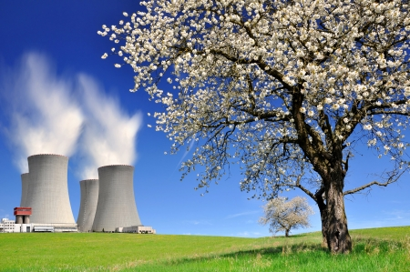 temelin: Nuclear power plant in spring landscape