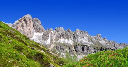 Dolomite peaks, Rosengarten,Val di Fassa, Italy Alps Stock Photo