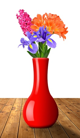 spring flowers in the red decorative vase photo