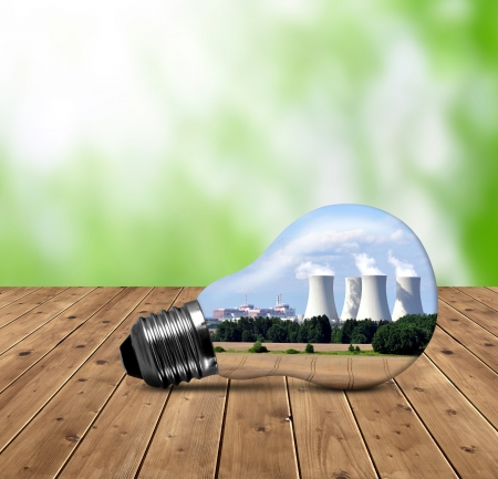nuclear plant: Bulb with of nuclear power plant Stock Photo