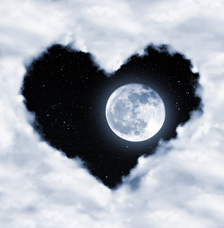 heart from clouds on night sky  photo