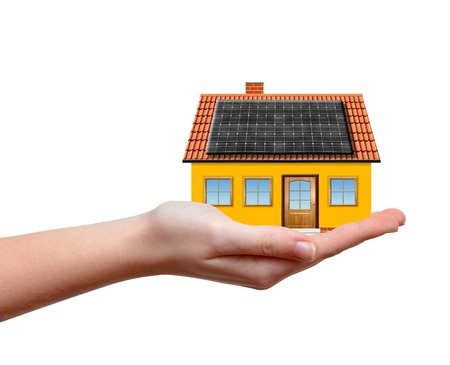 majority: small house with solar panel in hands isolaed on white background  Stock Photo